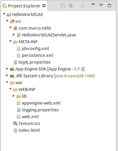 Create a Java Hello World Example with Google App Engine in